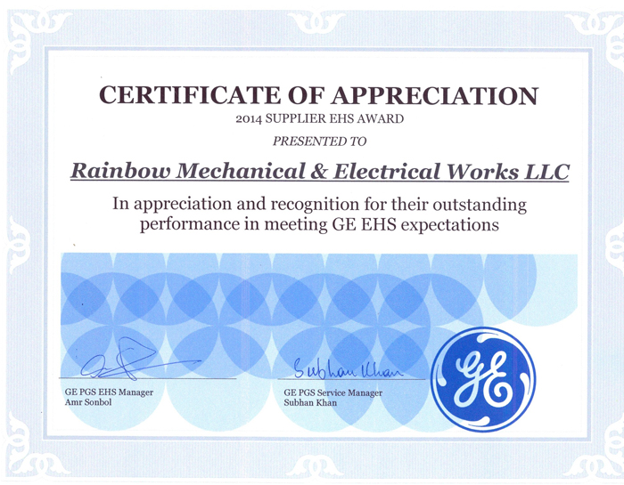 Rainbow wins GE appreciation for HSE excellence