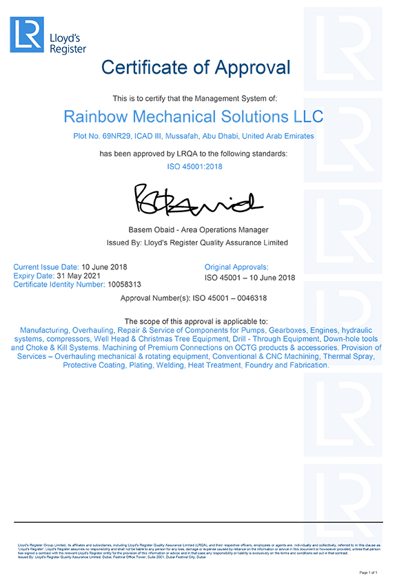 Rainbow conforms to newly published ISO 45001:2018 certification